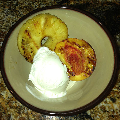 The Best Grill Out Dessert: Honey Lime Marinated Peaches and Pineapples