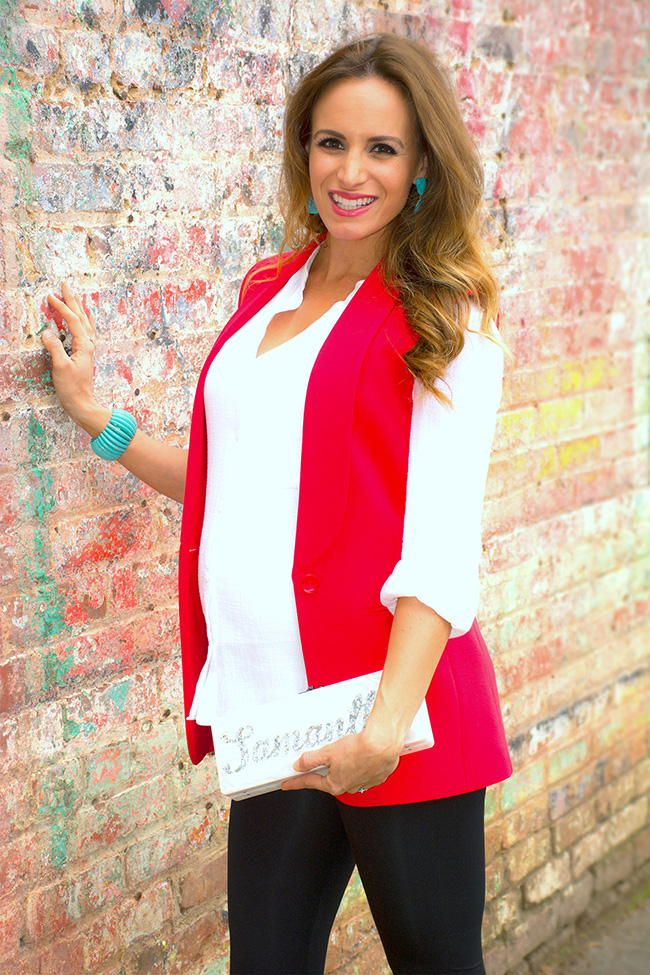 Preggo Leggings and red vest