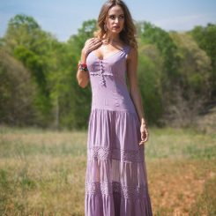 Lifestyle Blogger Samantha Busch in a lilac purple dress.