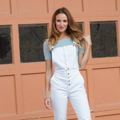 Samantha Busch in white overalls