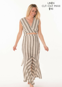 Samantha Busch Murph Boutique Linen Cut-Out Maxi