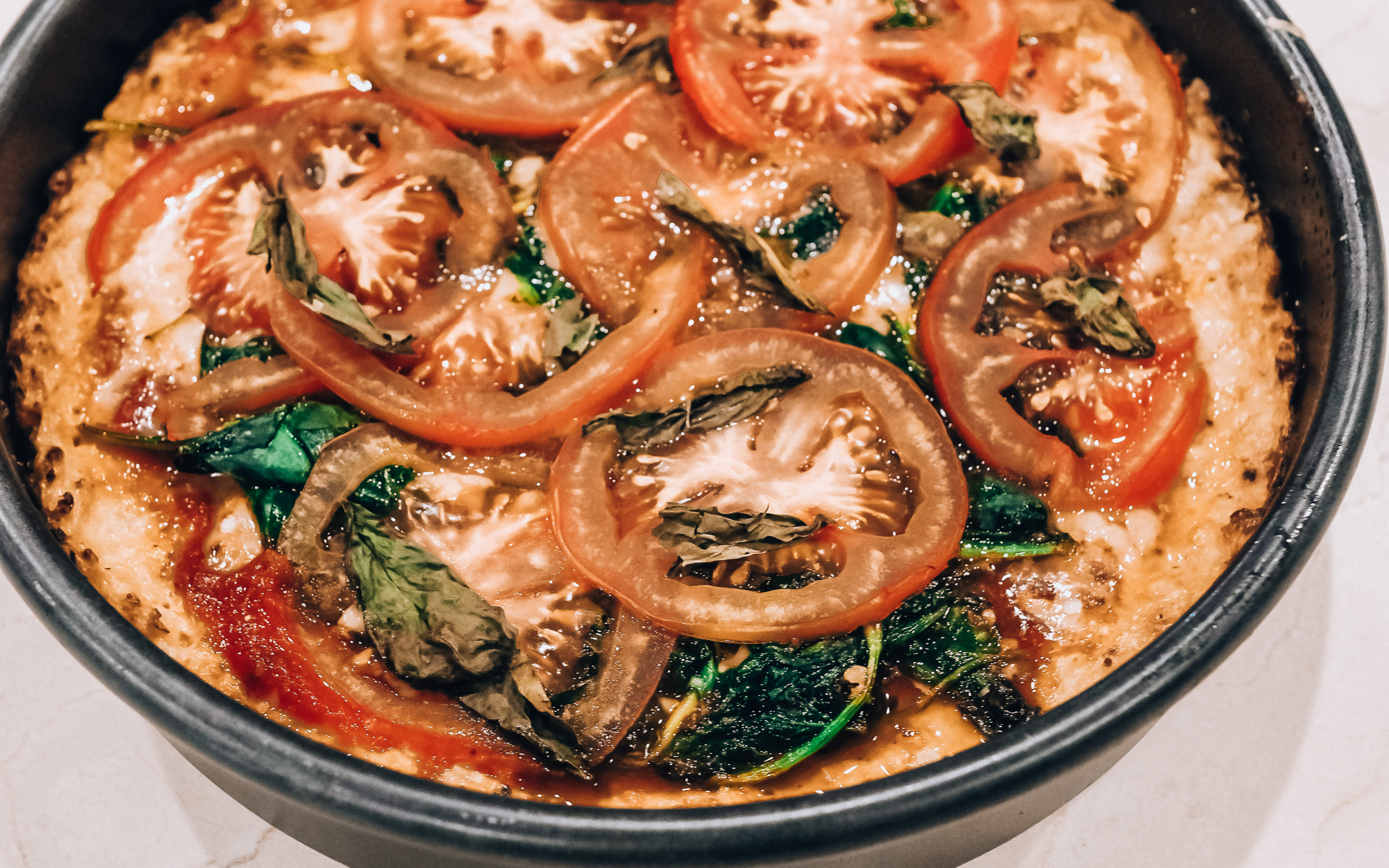 Cauliflower Deep Dish Pizza